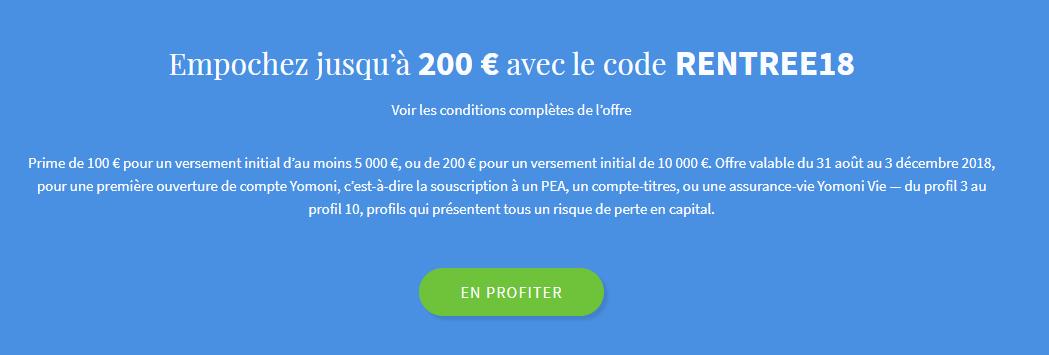 Code Promo : Yomoni jusqu'à 200 € offerts